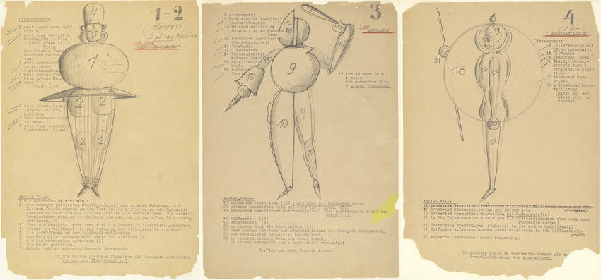 Sketches and movement studies for Das Triadisches Ballett, by Oskar Schlemmer, late 1910s | Article on ArtWizard