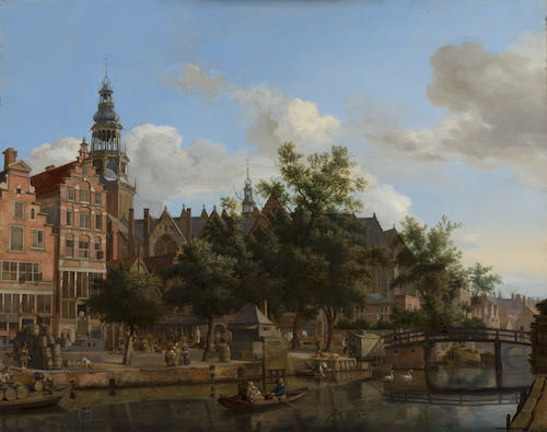 Jan van der Heyden, View of Oudezijds Voorburgwal with the Oude Kerk in Amsterdam, c.1670 | Article on ArtWizard | Article on ArtWizard