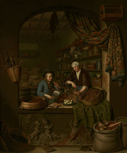 Willem van Mieris, A Grocer's Shop, 1717 | Article on ArtWizard