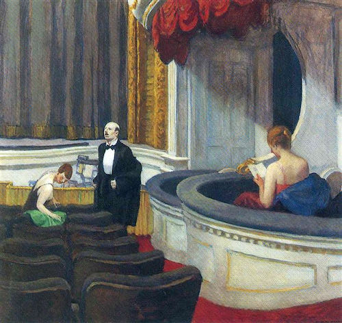 Edward Hopper, Two on the Aisle, 1927   Article on ArtWizard