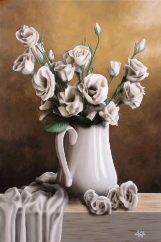 Nature morte - Roses blanches